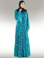 Beatiful Turquoise Blue Flower Net Abaya