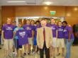 Dr. William L. Ridgway and students in 2008 at the grand opening of the Ridgway University Center.