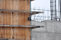 SecurTek Videofied camera installed on a concrete form at an undisclosed construction site.