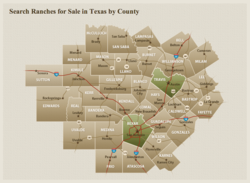 Ranches for Sale in Texas by County