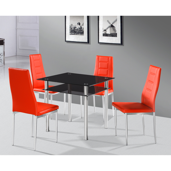 Buy Cheap Callisto Black Glass Dining Table And 2 Nova