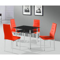 gI 83035 Come blk dining table and redNova chair Buy vheap Callisto black glass dining table and two Nova chairs from FurnitureInFashion for small spaces