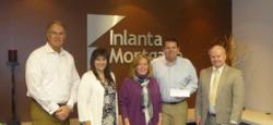 Inlanta Mortgage presenting Habitat for Humanity officials with title sponsor check. Pictured left to right: Inlanta President Nicholas J. DelTorto , Inlanta COO Jean Badciong, HFHWC Board President Betsy Ellis, Inlanta CFO John Watry, HFHWC Executive Director Rick Congdon