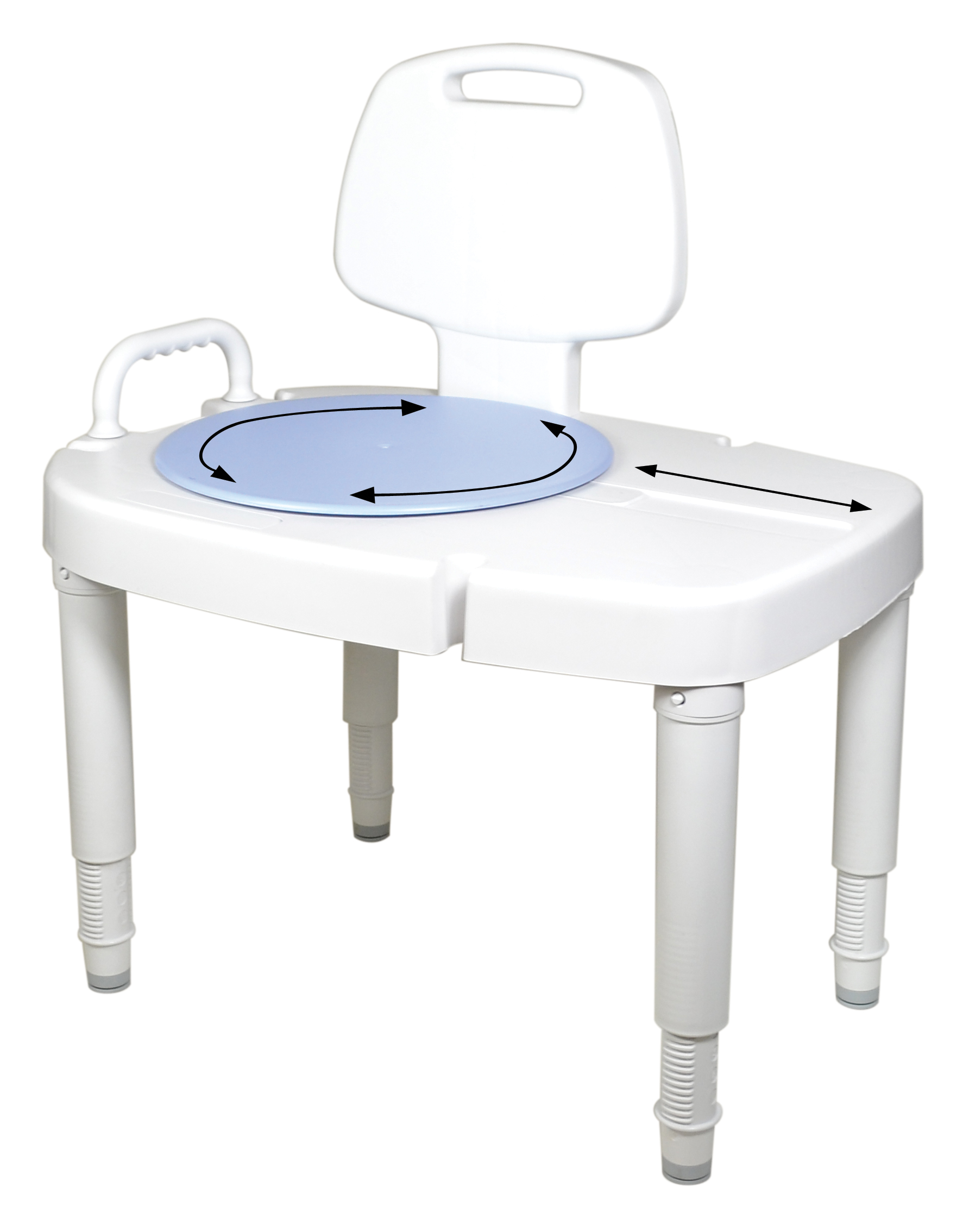 New Ableware® Sliding Rotating Transfer Bench Makes the Bathroom a ...
