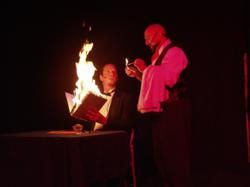 Hunchback Magician serves fire to Twisted Cabaret star, Frank Olivier