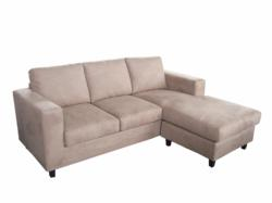 This sofa comes with serpentine springs and hollow fibre foam cushions. The back and seat cushions are fixed. This sofa is available in Black, Brown and Putty.