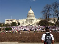 Supporters of immigration reform, overwhelmingly Hispanic, gather in front of Capitol Hill.