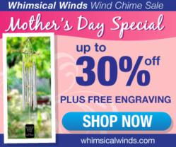 wind chime sale plus free engraving mothers day