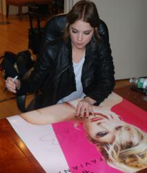 Ashley Benson signing Faviana brochures