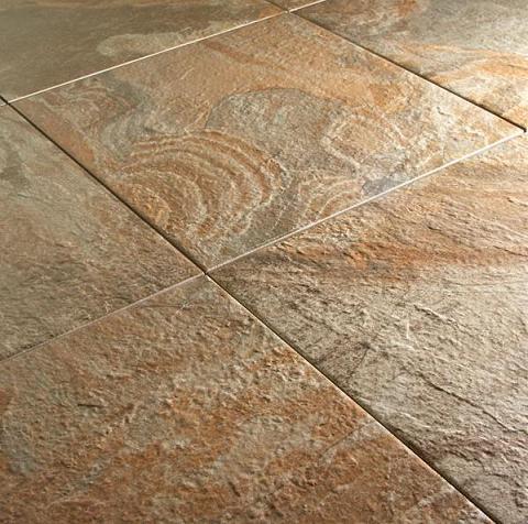 Spanish Steps Tile In Rust From Mediterranea Dolmen Glazed Porcelain