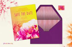 "alt = ""Flower Pop Save the Date from Evite Postmark"""