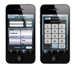 iPVoice VoIP Engine/SIP demonstration application available at thr App store.