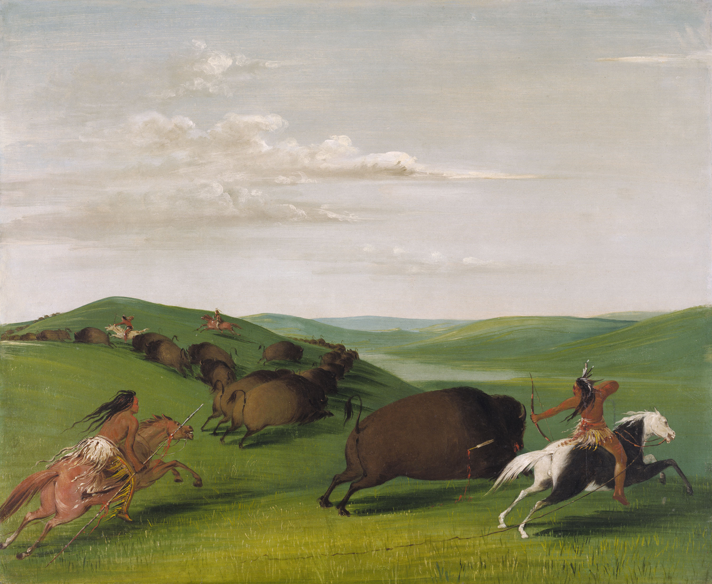 George catlin quot buffalo chase with bows and lances quot 1832 1833 oil on