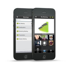 Video conferencing in a web meeting running on an iPhone.