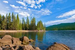 """Bass Lake, a popular vacation spot just outside the southern entrance to Yosemite National Park, is heralding the completion of a multi-year project on its dam with a marketing campaign saying that """"Bass Lake is full of it, fish water and family fun."""""""