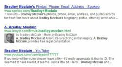 A. Bradley McLain's Lawyer.com profile appearing in Googe's SERP.