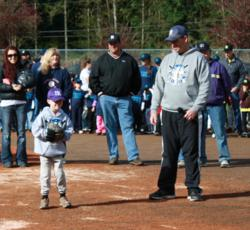 PFM for Ian, NK Little League, opening day, Carmen Garringer, Ian Gunnell