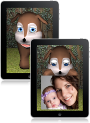 GeriJoy Companion: Two illustrations of the GeriJoy Companion running on a tablet: one striking a pose and the other showing an example of a family photo.