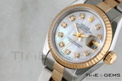 Ladies' Rolex Two-Tone Mother Of Pearl Diamond Dial Fluted Bezel Oyster Band Datejust