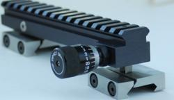 The Arc-Rizer vertically adjustable scope mount with universal clamps for serious long range shooters.  Patent Pending.