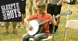 Jonny Mizzone of the Sleepy Man Banjo Boys with a Deering banjo
