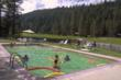 Volcano-fed hot springs heat the swimming pool naturally at Drakesbad Guest Ranch.