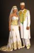 African Bride and Groom Embroidered Wedding Attire by TeKay Designs. Product ID PROD982.