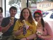 Customers enjoying scoops from Lottie's Creamery.