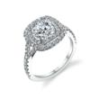S1128: Double halo diamond engagement ring made with 18K gold, a 1.5 carat round cut center stone and 0.74 carats of surrounding diamonds