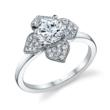 S1089: Floral inspired diamond engagement ring made with 18K gold, a 1 carat round cut center stone and 0.29 carats of surrounding diamonds
