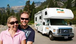 Couple having fun in relocation RV