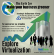 Infographic displaying the business benefits of a virtualization solution