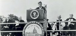 President Kennedy speaking at American University's commencement June 10, 1963.