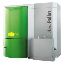The MESys AutoPellet 20kW wood pellet boiler, featured in image, is one of several different sizes in the MESys AutoPellet line.