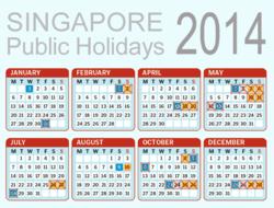 Singapore Public Holidays 2014 calendar