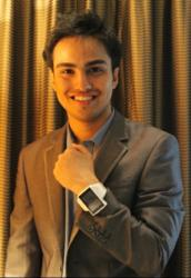 Siddhant Vats, the co-founder and CMO with his Androidly wrist watch