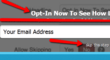 "Arrows pointing to the ""opt-in"" link and to the optional ""skip"" alternative"