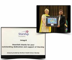 Stephen Mascarenhas (General Manager of Intagr8) receives the Starship award for being one of the principal sponsors of their sponsorship drive.