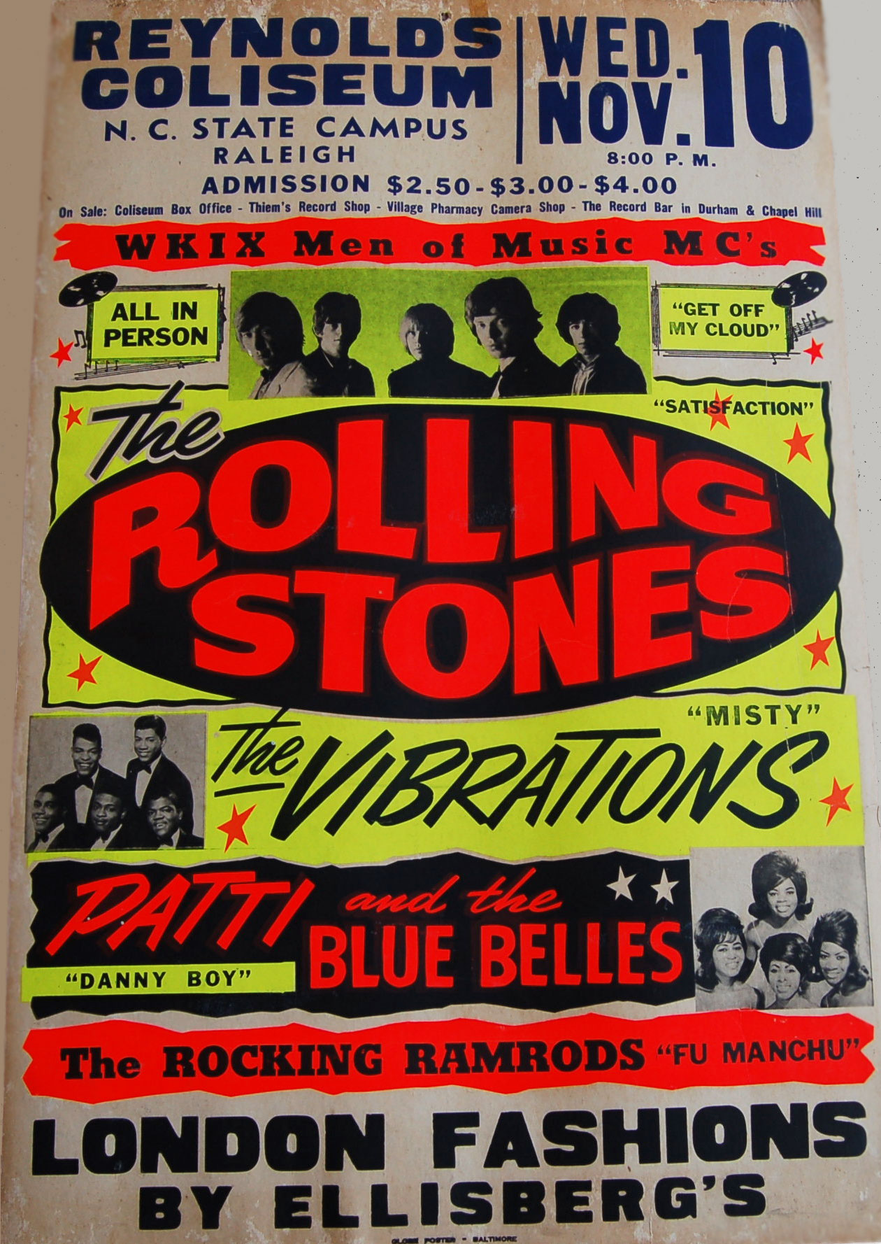 Art Print POSTER CANVAS 1965 Rolling Stones Greensboro North Carolina Coliseum