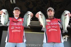 University of Alabama Dustin Connell and Logan Johnson take the early lead at the FLW College Fishing National Championship with 18-pounds, 8-ounces.