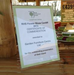Outstanding Presentation Award for The Garden Furniture Centre tradestand at RHS Cardiff Flower Show.