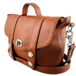"Freeload Accessories Leather Mini ""Satchel"" Handbag - Tan"