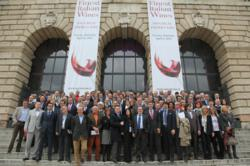 Some of the protagonists of OperaWine, the iconic producers in front of Palazzo Gran Guardia, April 6th 2013.