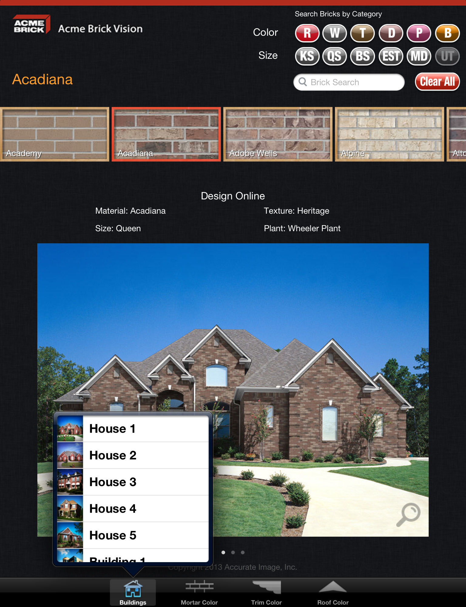 Acme brick company debuts new mobile app acme brick vision for selecting a sample elevation is the first step geenschuldenfo Choice Image
