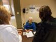 Alice Vogt, 95, a Mercy volunteer, greets visitors in the intensive care unit at Mercy Hospital Jefferson in Missouri.