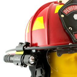 SideSlide C-clamp on fire helmet