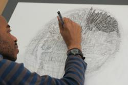 Stephen Wiltshire MBE drawing Globe of Imagination