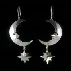 Handcrafted Jewelry Moon and Stars Earrings by Jenne Rayburn