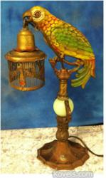 kovel, auction, antiques, collectibles, parrot lamp