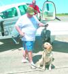 US Army Sgt John Davis and Chester prepare for Hero Flight